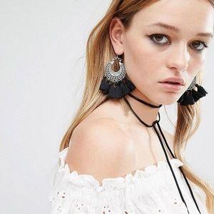 Jewelry - Boho Etched Silver Fringe Tassel Earrings - Black
